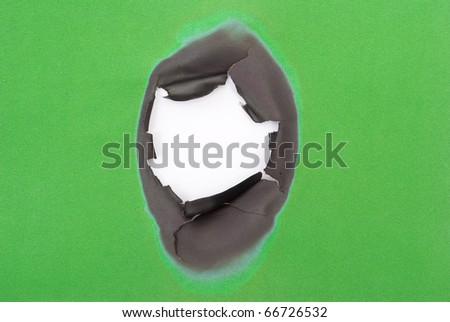 Burnt hole in a green paper