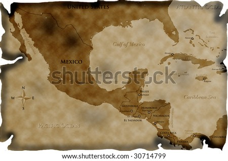 Burnt map of Central America and western Caribbean - stock photo