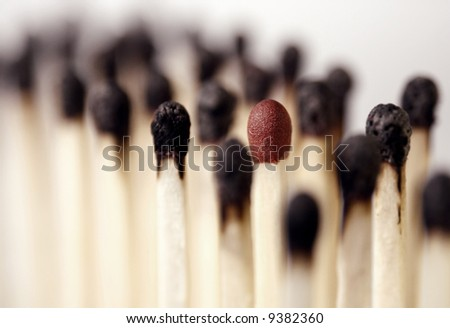 burnt matches with an intact