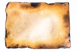 burnt old paper from a fire.