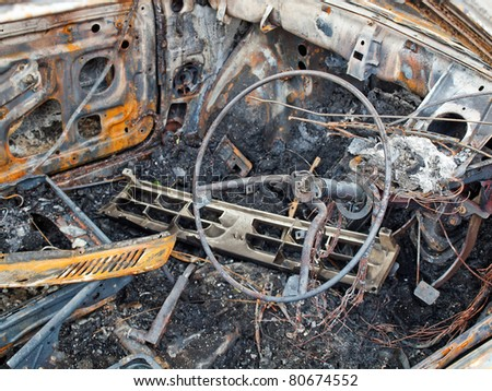 Burnt out car interior