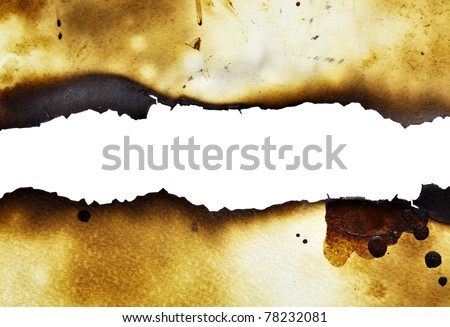 Burnt paper background with pure white space for your own text - stock photo
