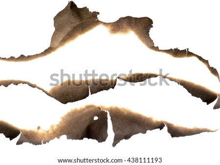 Burnt paper edges set isolated on white