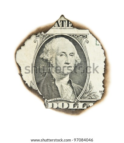 Burnt portrait of  washington on one dollar bill.