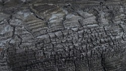 Burnt wooden board texture.Charred wood texture, charcoal, burnt wood.Burnt wooden board texture. Charred black background