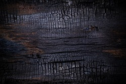 Burnt wooden Board texture. Halloween backdrop. Burned scratched hardwood surface. Smoking wood black plank halloween background