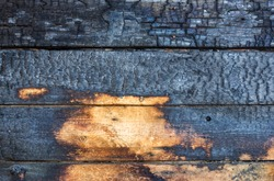 Burnt wooden boards