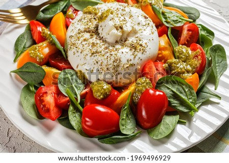 Burrata Caprese Salad with Spinach and basil pesto sauce on a white plate on a concrete table, italian cuisine, close-up Stok fotoğraf ©