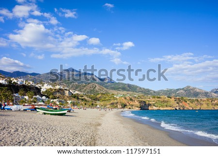 Burriana beach at the Mediterranean Sea in Nerja, Spain, Costa del Sol, southern Andalusia region.