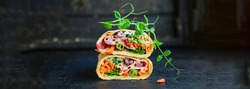 burrito tortilla wrap vegetables stuffing lavash natural product portion serving size vegetarian pita bread Menu concept Takeaway serving size fast food background top view copy space