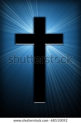burst of bright light behind a cross - stock photo
