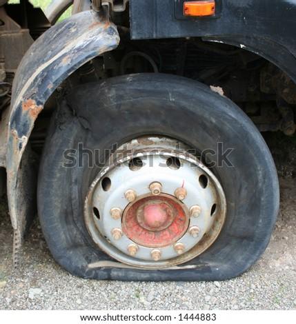 burst tire on truck