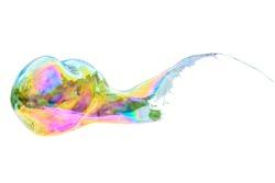 bursting bubble on a white background