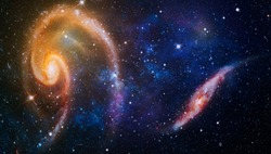 Bursting Galaxy , Universe filled with stars, nebula and galaxy , The elements of this image furnished by NASA.
