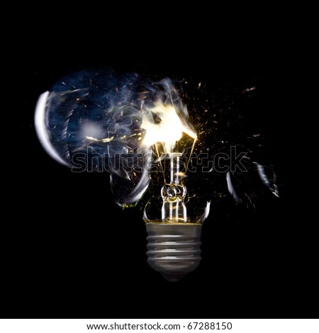 Bursting incandescent light bulb