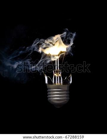 Bursting incandescent light bulb