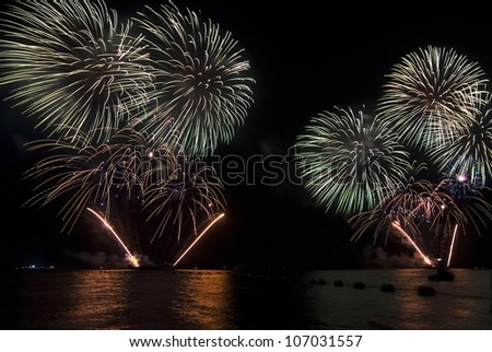 Bursts of colorful fireworks