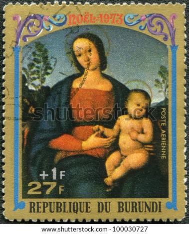 BURUNDI - CIRCA 1973: A stamp printed by Burundi shows Virgin and Child by Pietro Perugino, series Christmas, circa 1973