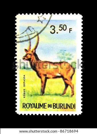 BURUNDI - CIRCA 1964: stamp printed in Kingdom of Burundi shows an African animal - Antelope with the inscription \