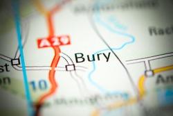 Bury. United Kingdom on a geography map