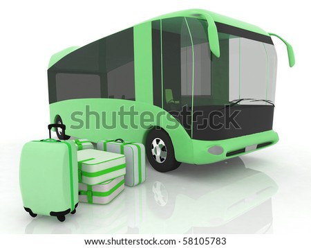 Bus and luggage on a white background