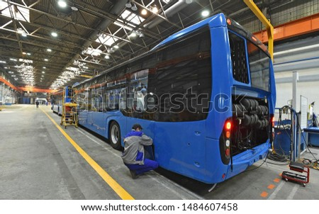 Bus assembly at the factory #1484607458