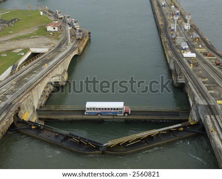 Bus crossing the Panama Canal