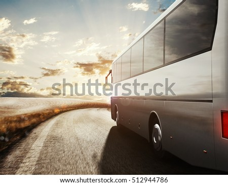 Bus driving on road. 3D Rendering