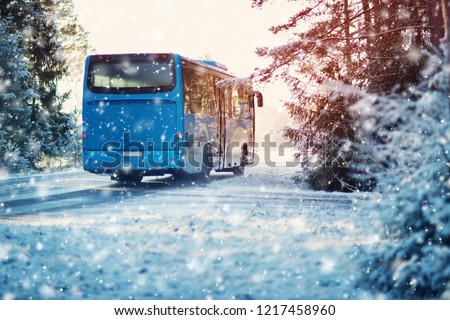 bus on winter road through coniferous forest