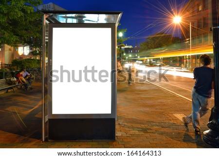 Bus Shelter Billboard at Night