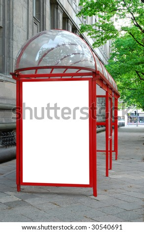 Bus shelter with space for advertising