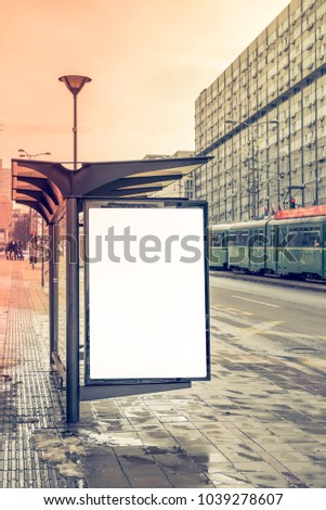 Bus station whit blank white billboard