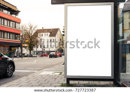 Bus Stop Bench Advertisement City Urban Transportation Blank White Isolated Ad Space #727723387