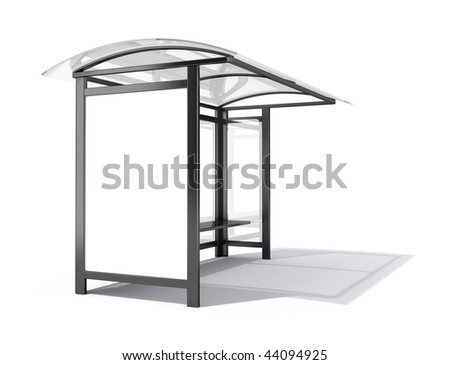 Bus stop billboard - 3d render