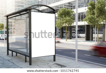 bus stop billboard on the street 3d rendering