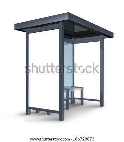 Bus stop billboard with blank posters for custom advertisements and marketing message in a built weather shelter structure on a white background.