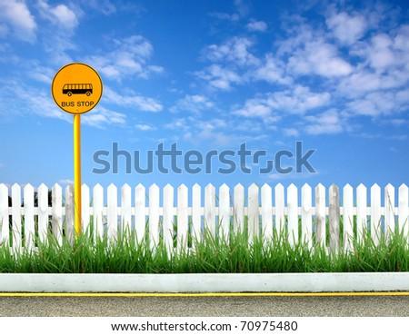 bus stop sign at roadside
