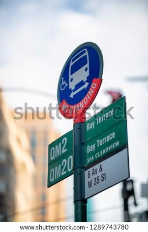 Bus Stop sign in Manhattan, New York City.