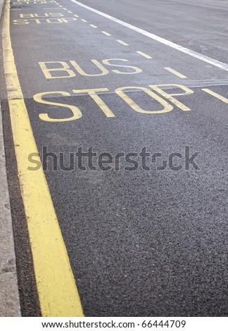 Bus stop sign, London, UK - stock photo