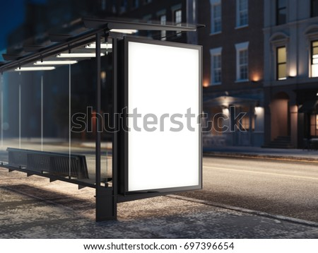 Bus stop with a glowing blank banner. 3d rendering