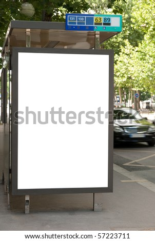Bus stop with advertising board