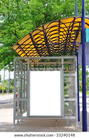 bus stop with blank advertising banner