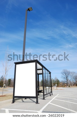 bus stop with blank banner