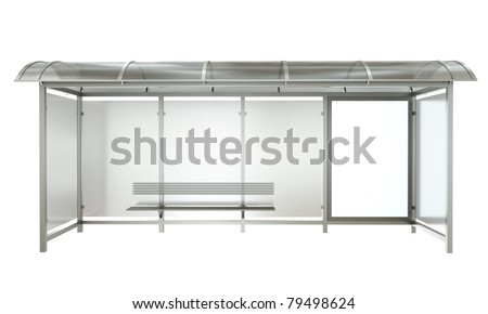 Bus stop with blank banner isolated on white background. 3D render.