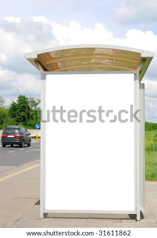 Bus stop with copy space