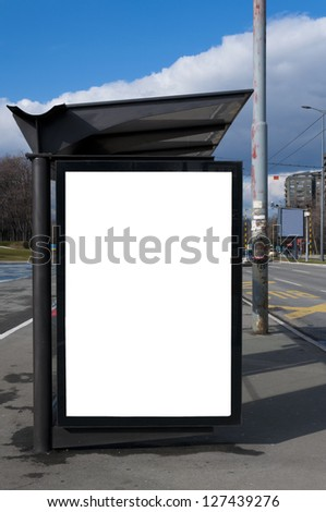 Bus stop with the blank billboard