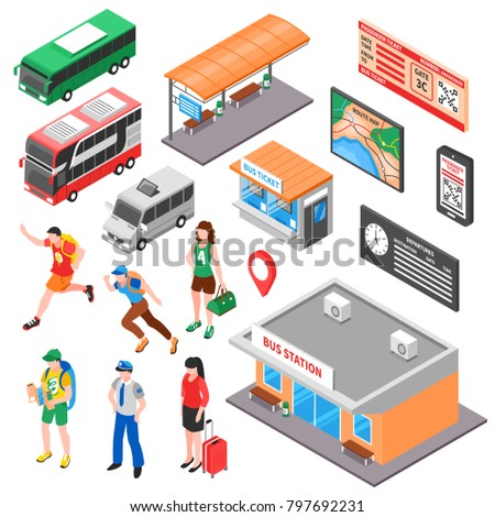 Bus terminal isometric set with tourists ticket office and platform vehicles route and timetable isolated  illustration