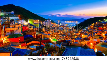 busan gamcheon culture village sunset cityscape #768942538