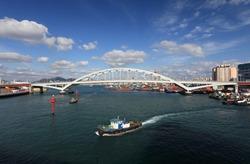 Busan harbor and Busandaegyo Bridge - Busan, Korea