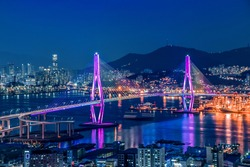 Busan Harbor Bridge - Busan City Night View